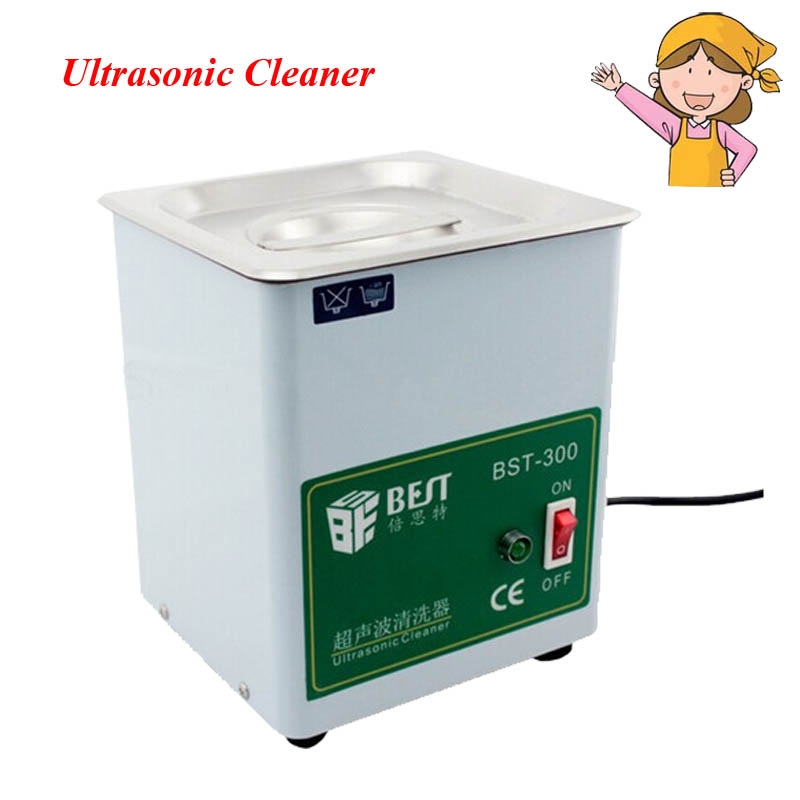 1pc Stainless Steel Ultrasonic Cleaner with 1.8L Capacity Size 150X137X100mm Cleaning Machine Household Washer BST-300