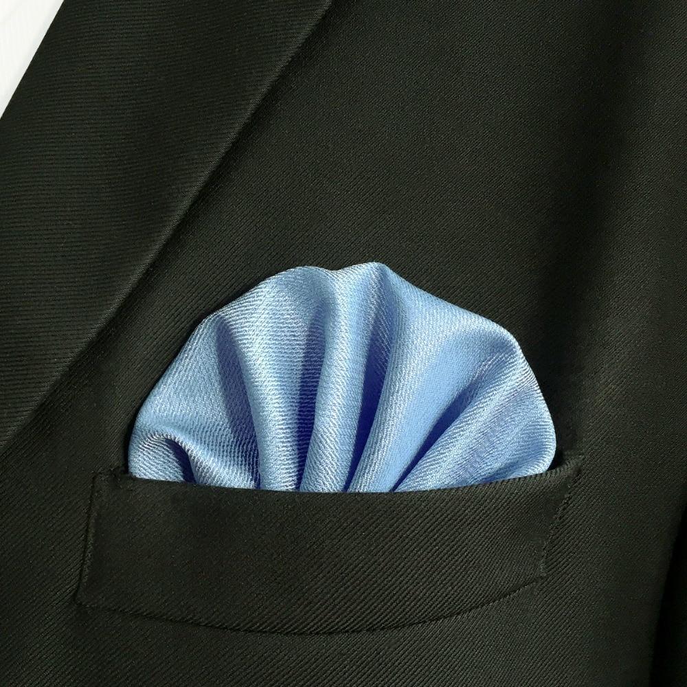 DH34 Solid Blue Mens Pocket Square Wedding Handkerchief Silk