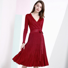 Dress for women autumn and winter 2018 HOT sexy dress new sexy V-neck long-sleeved knit dress bright silk pleated large dress nine west women s cowl neck pleated knit sheath dress 2 blue mood