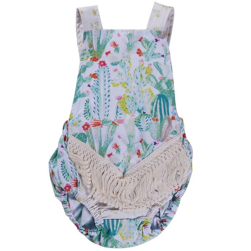 Infant Baby Romper Suspender Sleeveless Cactus Print Clothes Jumpsuit Bebe Kids Clothing