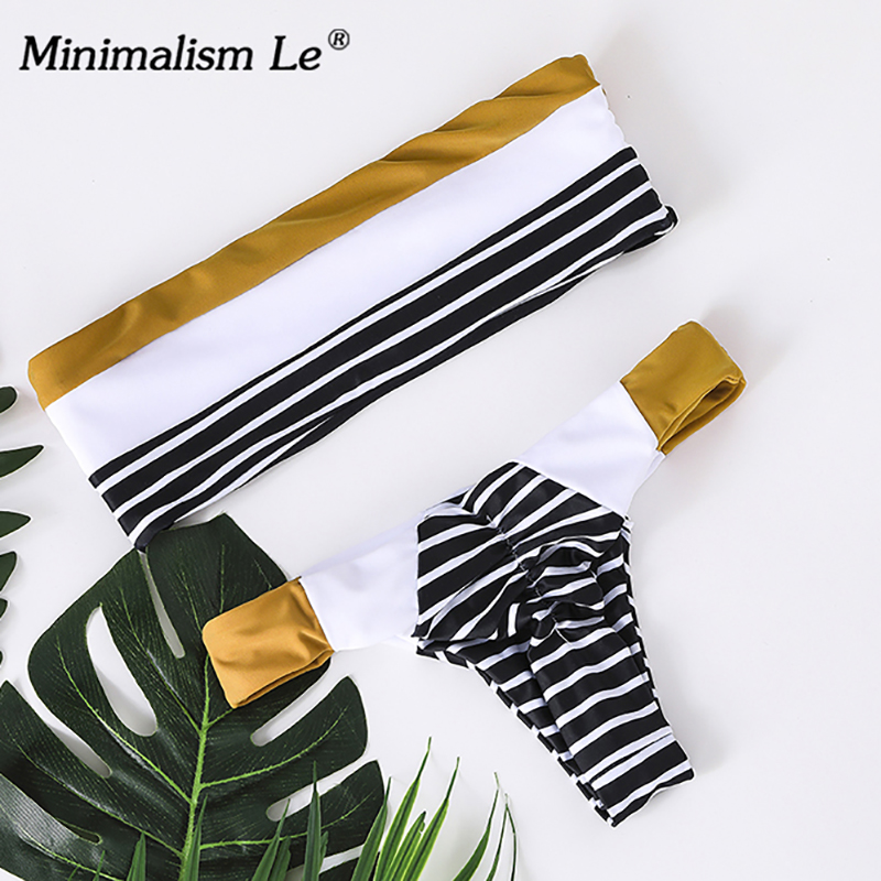 Minimalism Le 2018 Sexy Striped Swimwear Patchwork Bikini Sets Swimsuit Bikinis Bathing Women's Suits Biquini Beach Wear
