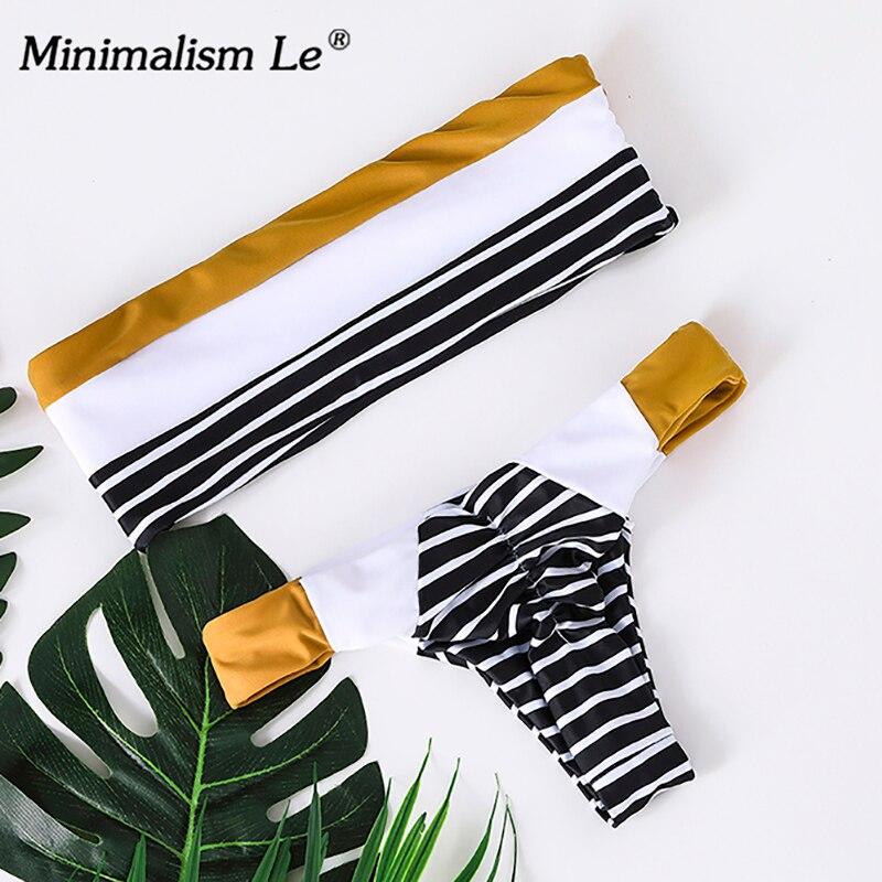 Minimalismus Le 2019 Sexy Striped Bademode Patchwork Bikini Sets Badeanzug Bikinis Bade frauen Anzüge Biquini Strand Tragen
