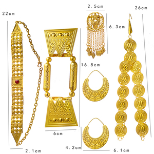 Image 3 - Ethlyn 2019 Latest Gold Color Red Stone Women Eritrean Ethiopian Traditional Wedding Jewelry Sets S112C