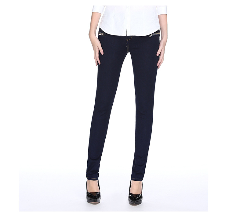Jean Femme Fashion Mid-Waist Zippers Decorated Stretchable Skinny Jeans Full-Length Denim Sexy Slim Tight Pencil Women Jeans