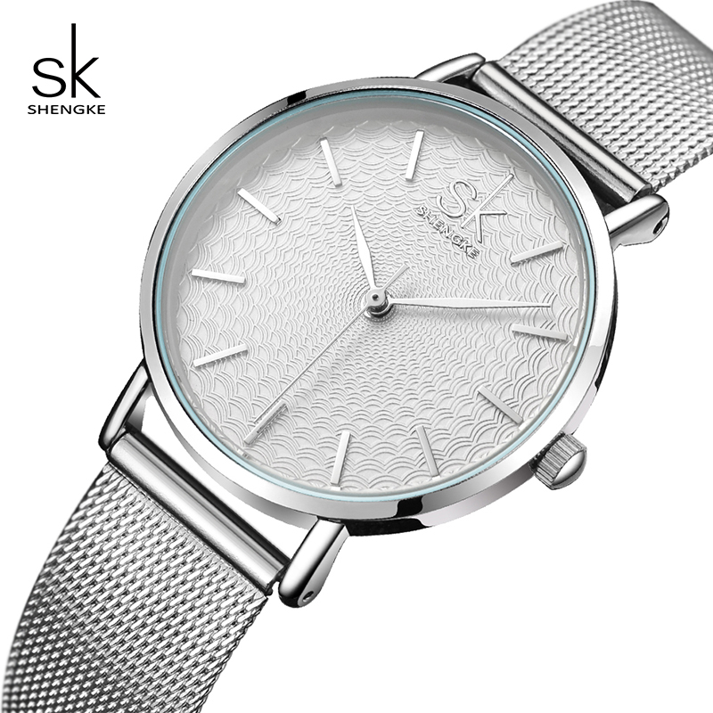 Shengke Watches Women Top Brand Luxury Silver Quartz Watch Stainless Steel Bracelet Watches Ladies Clock 2018 SK Relojes Mujer shengke new fashion ladies quartz watches top brand watch stainless steel mesh belt women s clock luxury gold women watches 2017