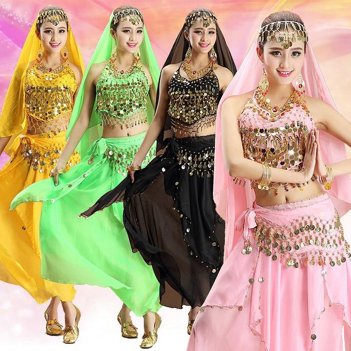 4pcs Set Performance Belly Dance Costume Bollywood Indian Dress Egypt