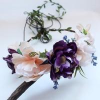 Femmes Fille Rose Fleur Couronne Couronne De Mariage De Mariée Fleur Artificielle Bandeau de Cheveux De Diadème Floral bande De Cheveux Cheveux accessoires