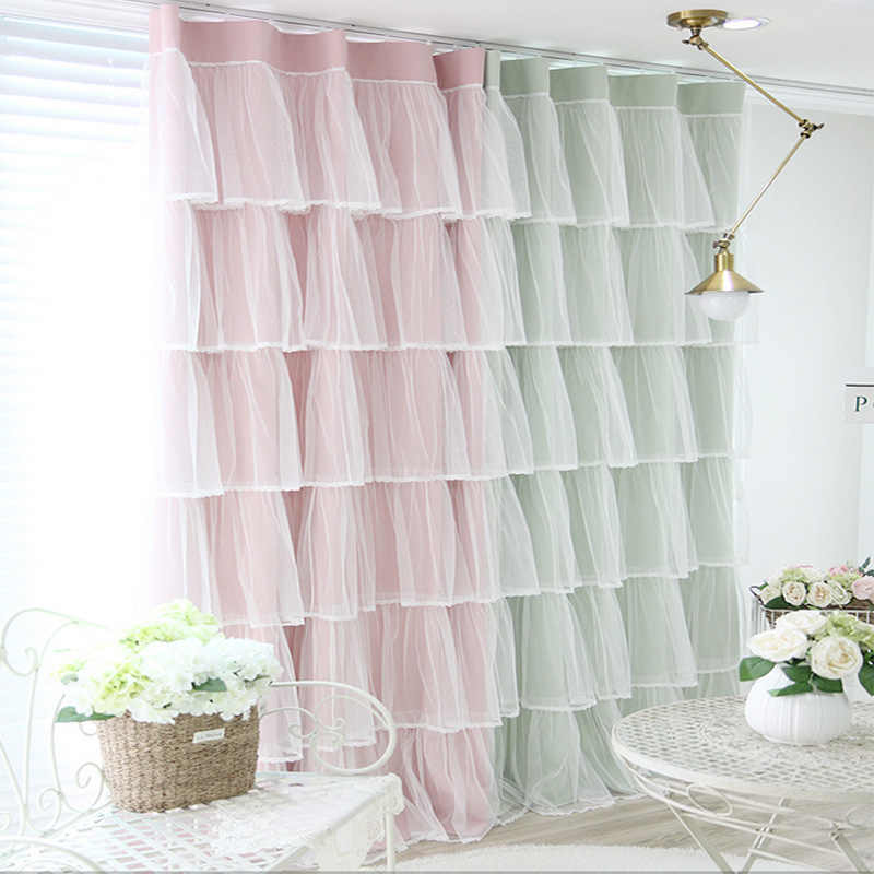 Cheap Price Girls Curtains Princess Lace Curtains Bedroom Living Room Blackout Curtains