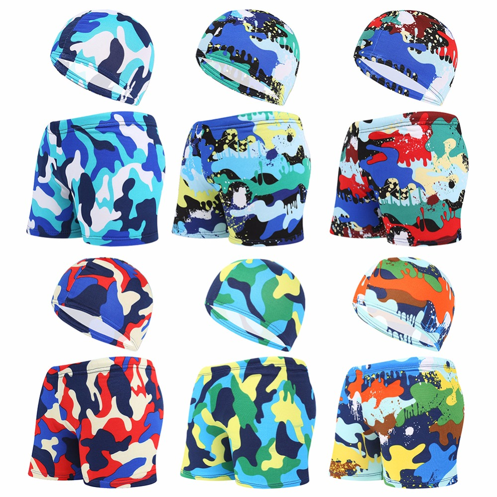 Kids Children Swimming Trunks Briefs Shorts Caps Camouflage Printed Colorful Swim Pool Beach Swimwear Swimsuit Bathing Suit Wear