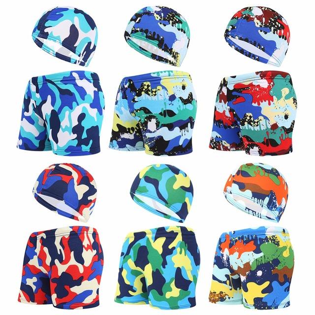 Kids Children Swimming Trunks Briefs Shorts Caps Camouflage Printed Colorful Swim Pool Beach Swimwear Swimsuit Bathing Suit Wear