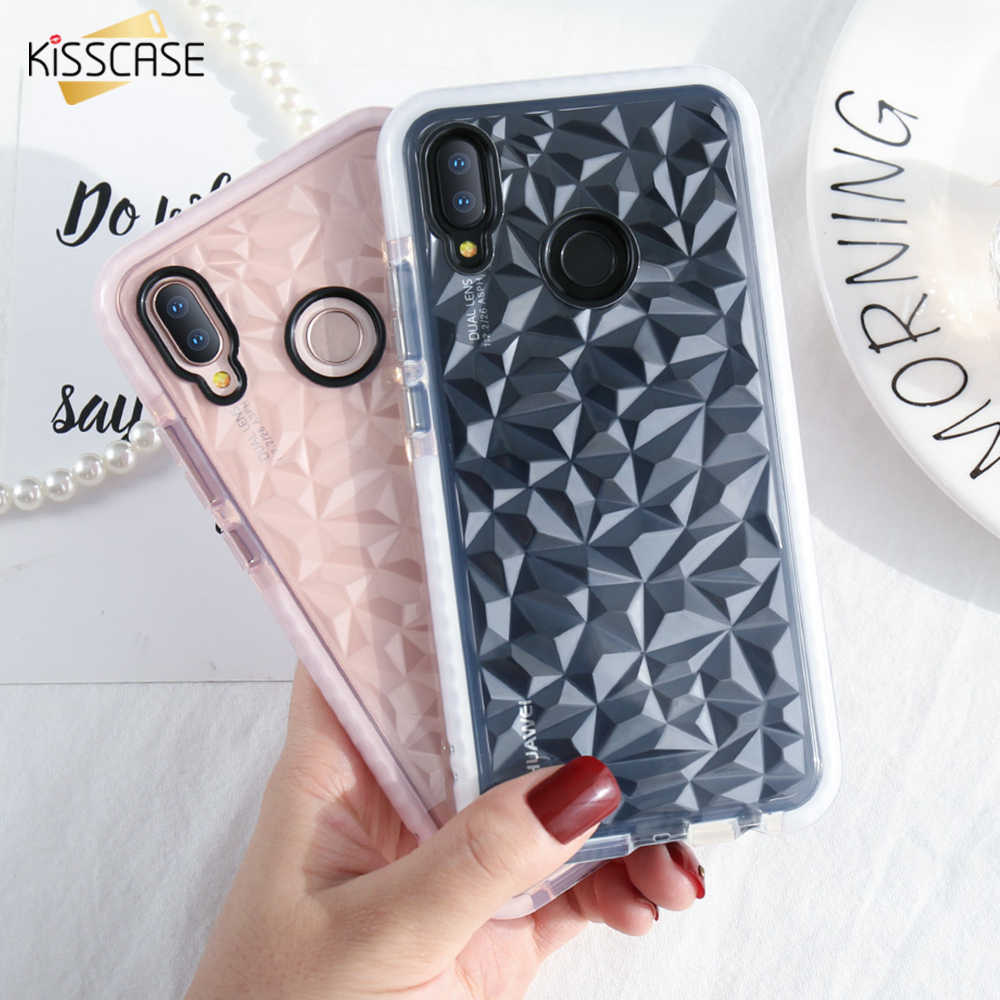 KISSCASE 3D Diamond Case For Huawei P20 P20 Pro Shookproof Grid Clear Silicone TPU Case For Huawei P20 Lite Honor 10 Full Cover