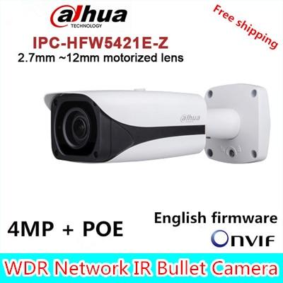 Dahua IP Camera IPC-HFW5421E-Z Varifocal Motorized Lens Full HD 4MP Network IR Bullet CCTV Camera Support POE DH-IPC-HFW5421E-Z dahua motorized lens 2 7mm to 12mm ip camera ipc hfw2320r zs 3mp poe cctv ip camera ir 30m day night vision security ip camera