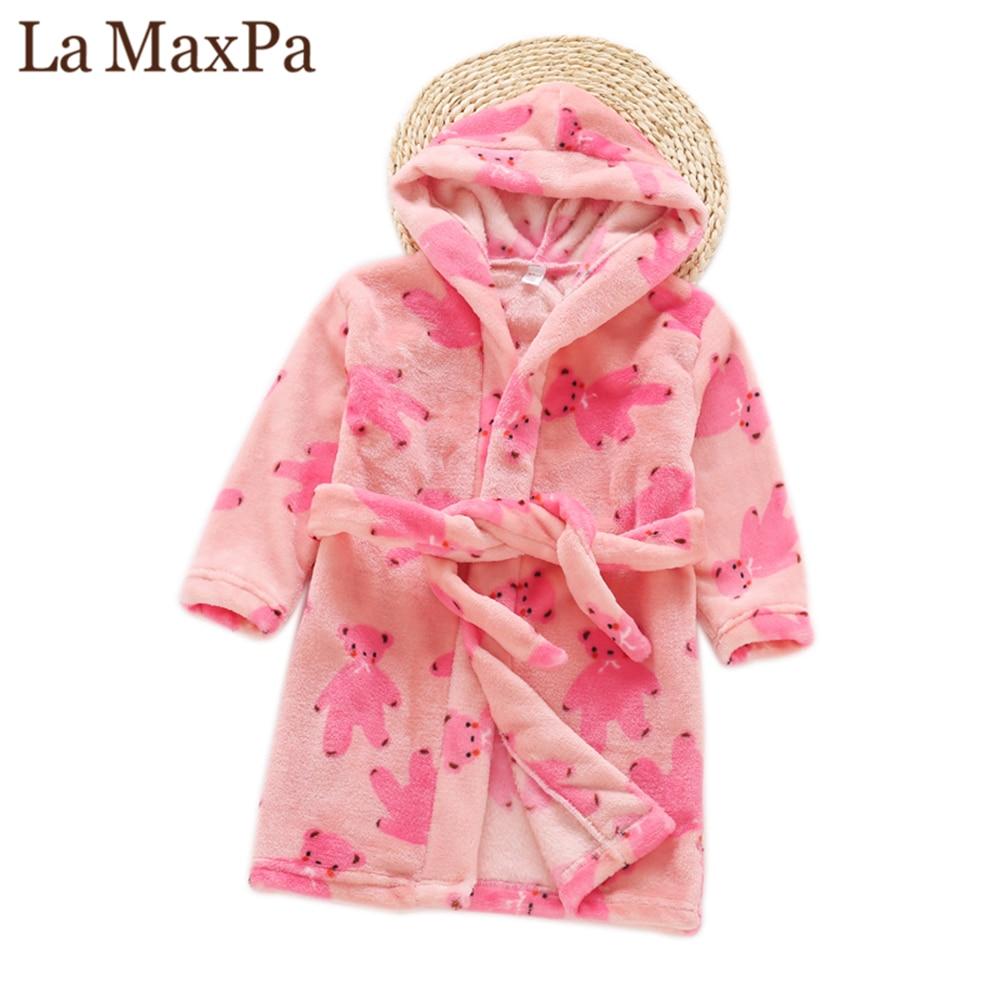 La maxpa зима бренд детей Халат утолщенной длинная Пижама фланель с капюшоном Детская ночная рубашка милые мальчики девочки дома халат