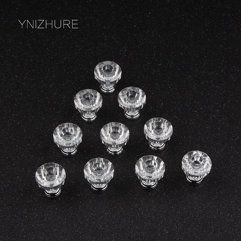 2017 New 25mm 10Pcs Crystal Handle Furniture Knobs Single Hole Cabinet Acrylic Door Knobs Drawer Dresser Closet Pull Handles Hot furniture drawer handles wardrobe door handle and knobs cabinet kitchen hardware pull gold silver long hole spacing c c 96 224mm
