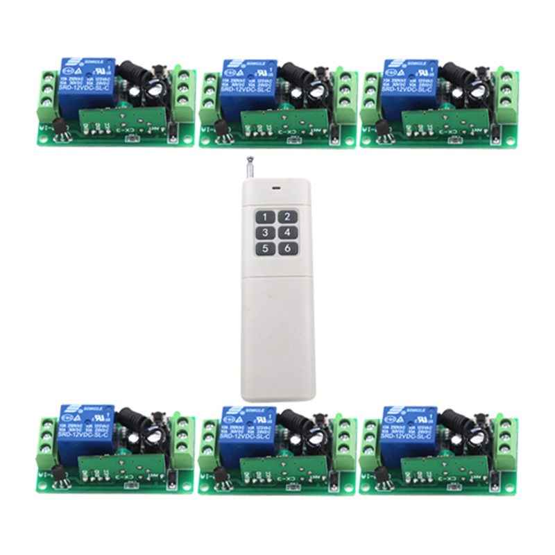 Long Range Remote Control Switch DC 12V 1CH 10A Relay 6 Receiver 1 Transmitter Learning Light Lamp Wireless Switch 315/433 4098 remote control switches dc 12v 2ch receiver long range remote control transmitter 50 1000m 315 433 rx tx 2ch relay learning code