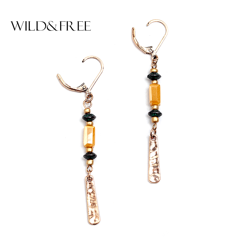 WILD & FREE WILD & FREE Women Vintage Zinc Alloy Long Dangle Earrings Gold Geometric Acrylic Bead Dangle Earrings Jewelry