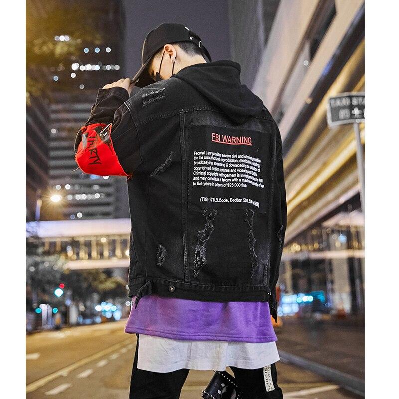 US Size Black Hole Denim Jackets Men Jeans Coat Hip Hop Jacket Streetwear 2019 Spring Autumn Black Jacket for Male HW123