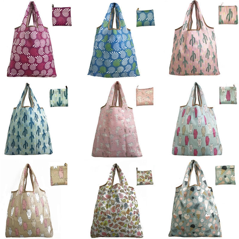 Women Shopping Shoulder Bags Waterproof Folding Reusable  Tote Grocery Cloth Bags Pouch