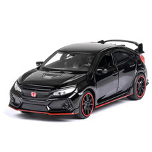 1:32 HONDA CIVIC TYPE R Diecasts & Toy Vehicles Metal Car Model Sound Light Collection Car Toys For Children Christmas Gift
