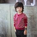 2016 Новый Осень Детей Футболка Мальчиков Детской Одежды 100% Хлопка С Длинным Рукавом Пуловеры Младенческой Мальчик Толстовка Полосатый