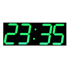 Green LED Digits Large LED Wall Clock with Calendar Temperature Display Remote Control Countdown Timer Stopwatch