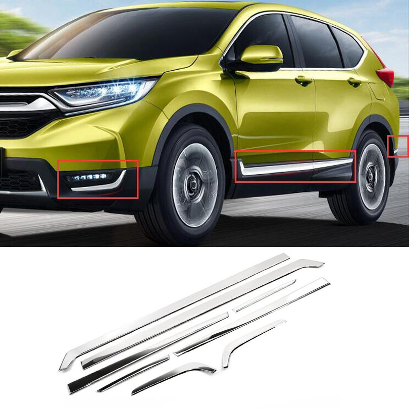 8pcs/set Stainless Steel Car Body Side Door Moulding Cover Trim For Honda <font><b>CRV</b></font> 2017 <font><b>2018</b></font> Car Exterior <font><b>Accessories</b></font> Stylilng image