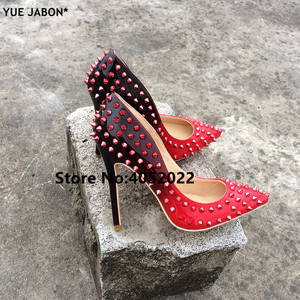 Image 5 - YUE JABON New Shoes Spike Heels Red Patent Leather Stiletto Pumps Shoes Rivets Studs Lady Thin High Heels Shoes Party Dress Shoe