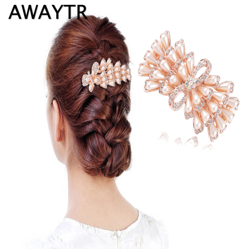 AWAYTR New Design Peacock Exquisite Hair Accessories Rhinestones Pearl Hairpin Hair Clip Headwear Barrettes for Women Wedding cheap 1pcs women headwear scissors comb hair clip hair accessories headpiece hairpin headwear gold silver color drop shipping