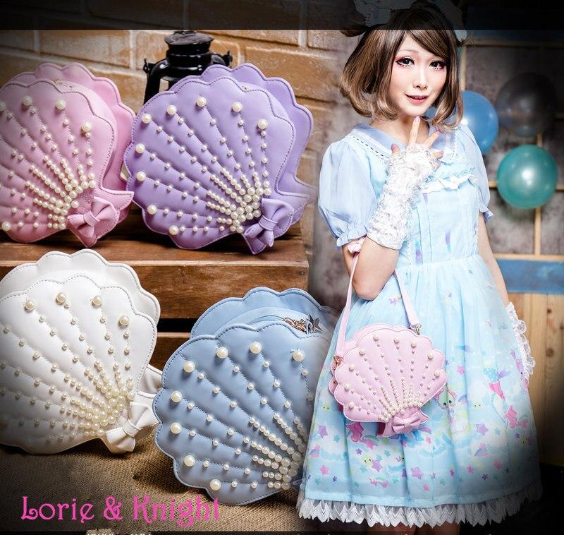 ФОТО Japanese Harajuku Fairy Sweet Lolita Sea Shell Shape Bow and Pearl Princess Cross Body Messenger Bag