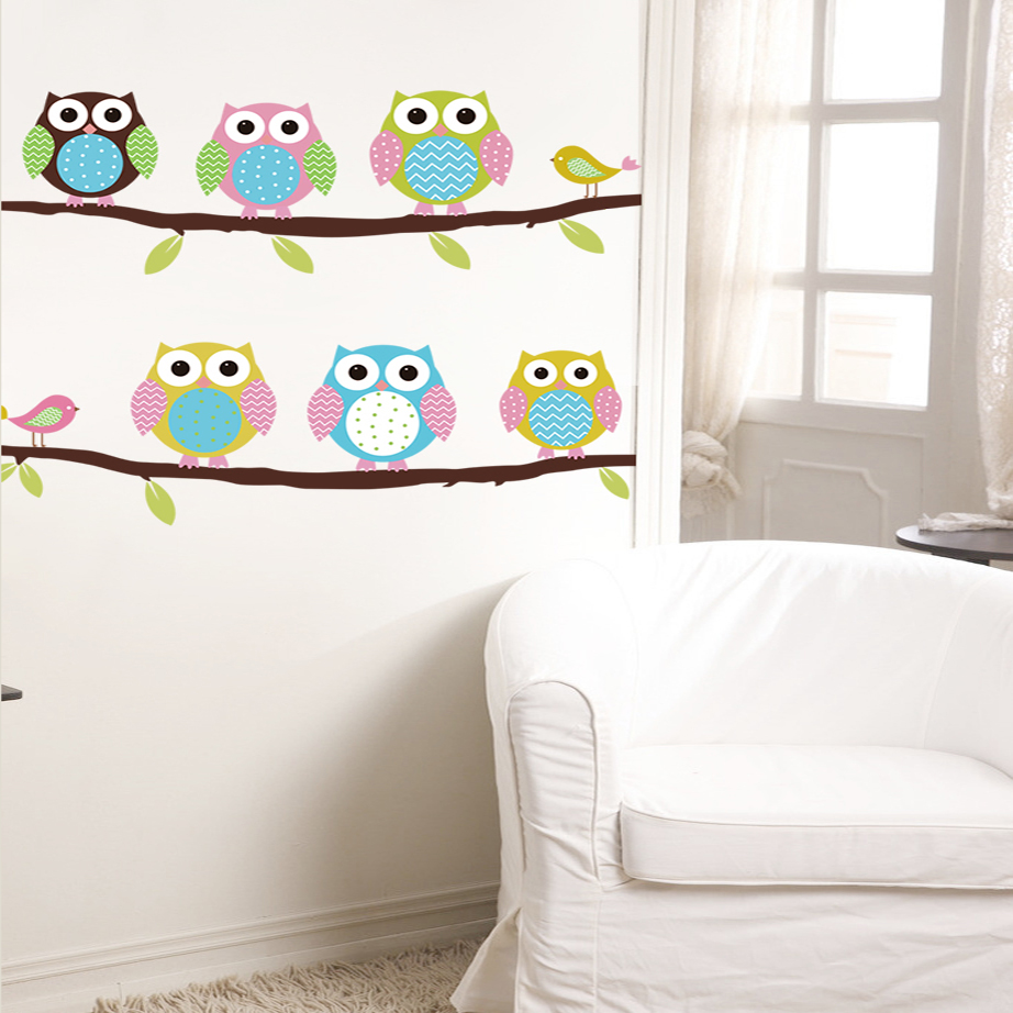 New cartoon childrens room bedroom walls painted decorative new cartoon childrens room bedroom walls painted decorative stickers cute owl animal wall stickers free shipping in wall stickers from home garden on amipublicfo Choice Image