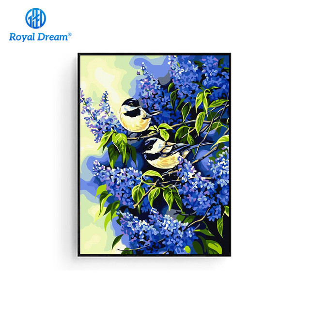 DIY Painting By Numbers Animal Acrylic Paint On Canvas Family Hand Painted Birds Paintings Wall