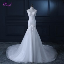fsuzwel Mermaid Wedding Dresses V-neck Backless