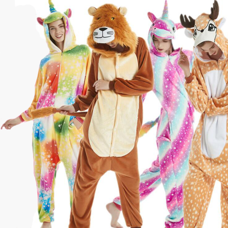 Animals Kigurumi Unicorn Costume Adult Girl Onesies Flannel Animal Lion Women Men Anime Jumpsuit Disguise Onepiece Suit