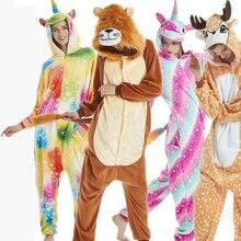 Animals Kigurumi Unicorn Costume Adult Girl Onesies Flannel Animal Lion Women Men Anime Jumpsuit Disguise Onepiece Suit