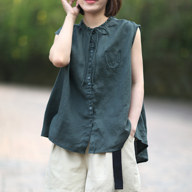 Johnature Casual Style Shirts Art ear collar Solid Linen Sleeveless Female Blouse 2019 Summer Fashion Button