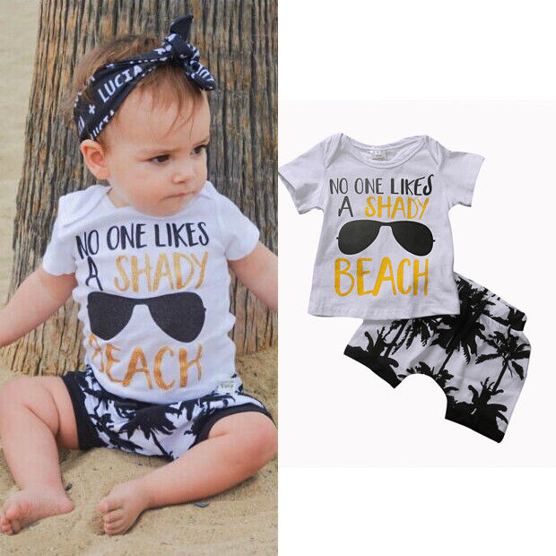 2pcs Toddler Infant Kids Baby Boy Clothing Set T-shirt Tops+Shorts Summer Casual Baby Boys Outfits Clothes Set