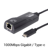 1000Mbps Type-c USB-C To RJ45 Gigabit Ethernet LAN Network Adapter Cable For PC K Laptop Accessory Black