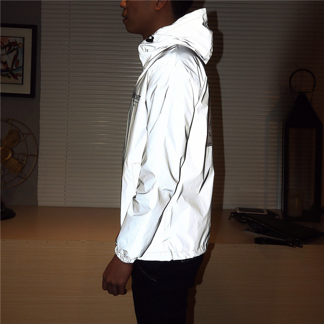 Men Jacket Casual Hip Hop Windbreaker Reflective Jacket Tide Brand Men And Women Lovers Coat Hooded Fluorescent Couple Clothing
