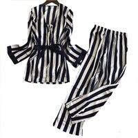 New Style Sleepwear Summer Lady Pajamas Pyjamas Set Satin 3PCS Nightwear Stripe Cami&Pants&Robe Home Wear Sexy Intimate Lingerie