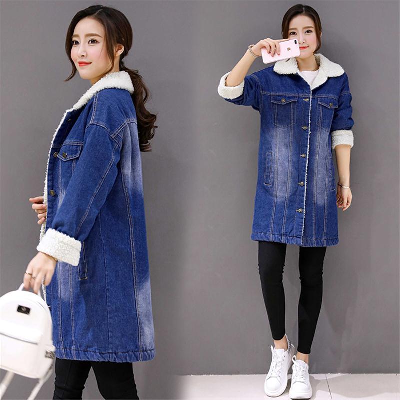 Plus size 5XL Long women jean jacket Winter Thick Jean Jacket Faux Fleece Denim Coat Female