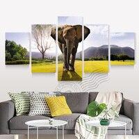 5แผงผ้าใบศิลปะแอฟริกันช้างสัตว์จิตรกรรมModern Homeตกแต่งผนังภาพงานศิลปะผ้าใบพิมพ์Unframed BR0077
