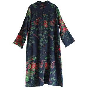 Image 5 - LZJN 2020 Spring Women Trench Coat Floral Long Cotton Linen Duster Coat Vintage Chinese Windbreaker Overcoat