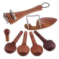 New A Natural Jujube wood 4/4 violin Parts accessories Set of Fine-Tuning, Chinrest Chin Rest, Strings, Tail Nail, Tail Rope,