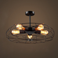 Vintage Retro Creative Fan Ceiling Light Fixture Loft Industrial American Style Bar Cafe Kitchen Room Wrought Iron Hanging Lamp