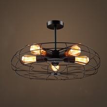 Vintage Retro creativo ventilador de techo accesorio de luz Loft Industrial estilo americano Bar Café cocina habitación de hierro forjado lámpara colgante