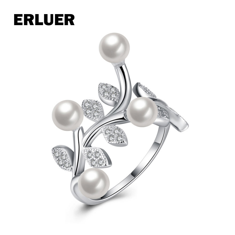 Fashion Hot Sale Wedding Jewelry Silver Gold Color Leaves Crystal Imitate  Pearl Rings For Women Girls Valentine's Gifts Bague