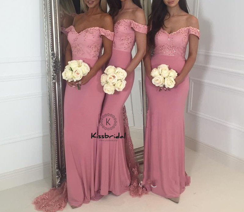 New Elegant Memaid   Bridesmaid     Dresses   robe demoiselle d'honneur Off SHoulder V-neck Wedding Party Gown Sweep Train