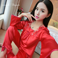 Высокое качество ночь костюм пижамы полный рукавом цветочный квадратный воротник атласная пижамы полная длина nightsuits дамы 3 цветов
