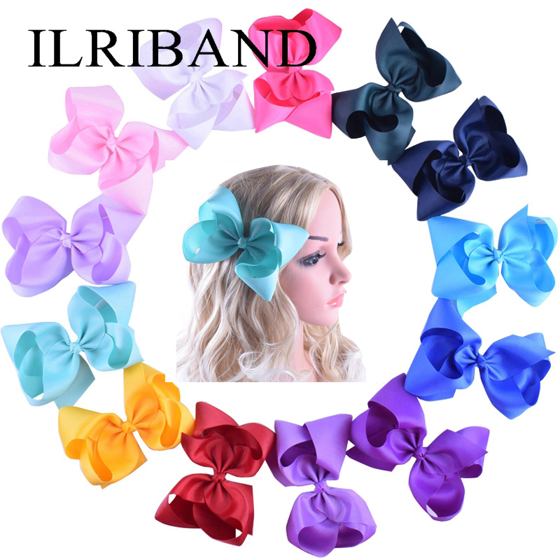 30pcs/lot Girls Large 6 Hair Bows Clip Children Kids 6 Inch Big Bow HairClips Hairpin Princess Boutique Headwear Baby Barrettes 5 inch big hair bow girls dot butterfly ribbon rainbowhair bows with clip boutique hairclip hairpin headwear hair accessories