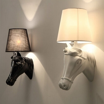 Modern Simple Continental wall lights hallway Bedside Resin Horsehead sconces light black/golden/silver/White horse wall lamp